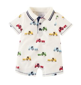 Mud Pie Pique Tractor Collar Romper
