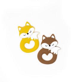 Three Hearts Fox Teether in Brown