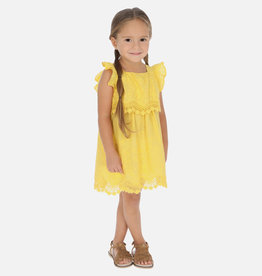 Mayoral Embroidered Poplin Dress Yellow