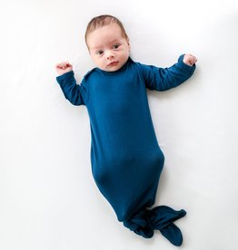 Posh Peanut Solid Color Sailor Blue Knotted Gown 0/3M