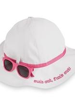 Mud Pie White & Pink Sun Hat & Sunglasses Set 6/18M