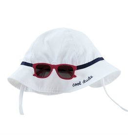 Mud Pie White & Blue Sun Hat & Sunglasses Set 6/18M