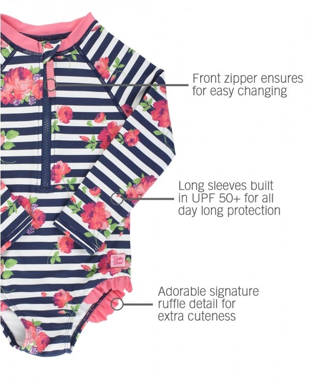 Ruffle Butts/Rugged Butts Girls Rosy Floral Stripe LS One Piece Rash Guard