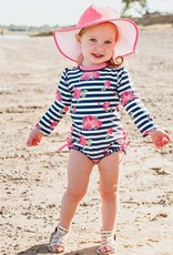 Ruffle Butts/Rugged Butts Rosy Floral One Piece Rash Guard