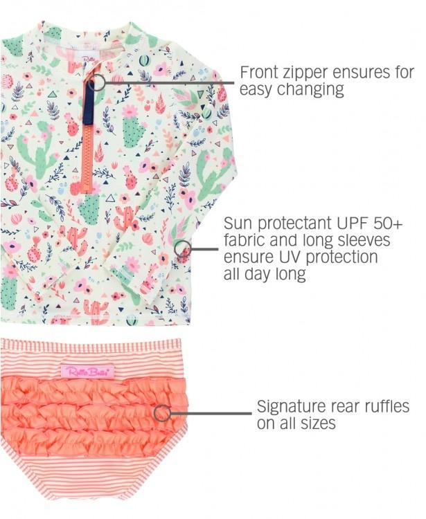 Ruffle Butts/Rugged Butts Desert Blossoms LS Rash Guard Bikini