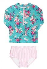 Ruffle Butts/Rugged Butts Fancy Me Floral LS Rash Guard Bikini