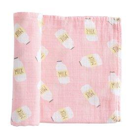 Mud Pie Pink Milk Swaddle Blanket
