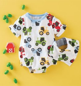 Mud Pie Tractor Bubble & Bib Set