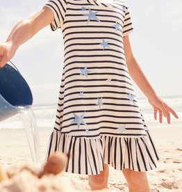 Joules Allie Luxe Dress White Stripe Star