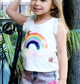 Hannah Banana/Baby Sara Sequin Rainbow Patch Ruffle Top