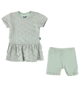 Kickee Pants SS Playtime Outfit Set Iridescent Mermaid Scales