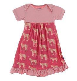 Kickee Pants SS Dress Romper Red Ginger Unicorns