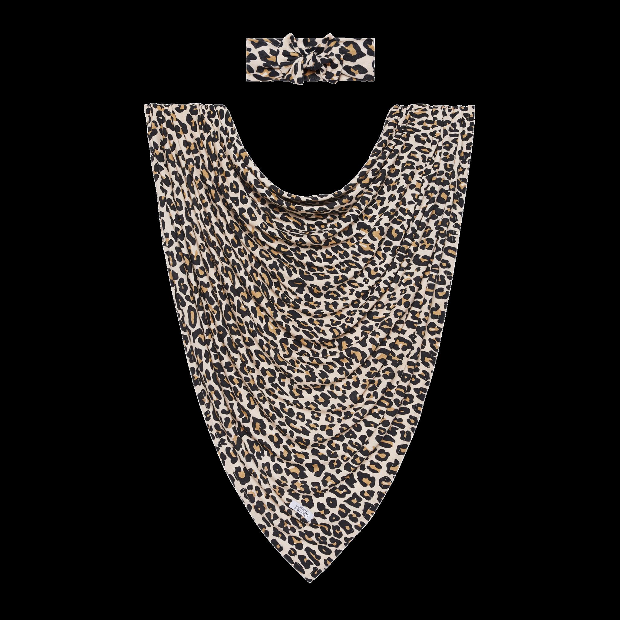 Posh Peanut Lana Leopard Swaddle Headband Set