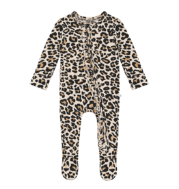 Posh Peanut Lana Leopard Ruffled Zipper Footie