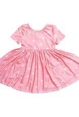 Mila & Rose Pink Star SS Pocket Twirl Dress