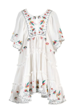 Hannah Banana/Baby Sara Floral Embroidery Button-Up Tiered Dress