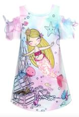 Hannah Banana/Baby Sara Pink Multi Cold Shoulder Mermaid Dress