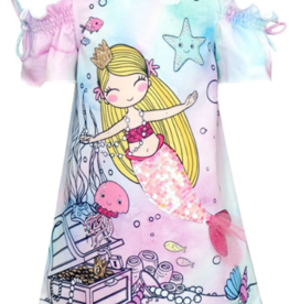Hannah Banana/Baby Sara Pink Multi Cold Shoulder Mermaid Dress