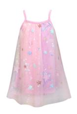 Hannah Banana/Baby Sara Pink Multi Mesh Overlay A-Line Dress