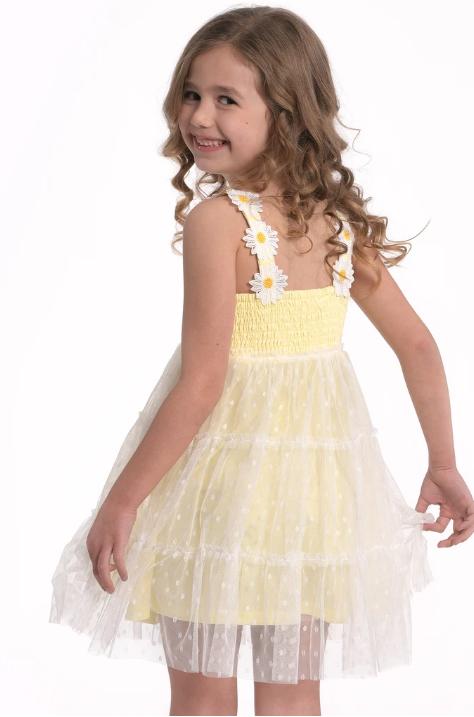 Hannah Banana/Baby Sara Yellow Empire Polka Dot Dress Flower Details