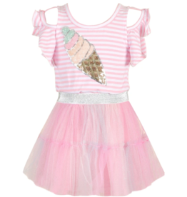 Hannah Banana/Baby Sara Sequin Ice Cream Patch Tutu Twofer Dress