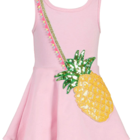 Hannah Banana/Baby Sara Pink Multi Fit & Flare Pineapple Purse Dress