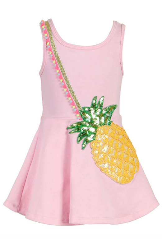 Hannah Banana/Baby Sara Pink Multi Fit & Flare Pineapple Purse Dress