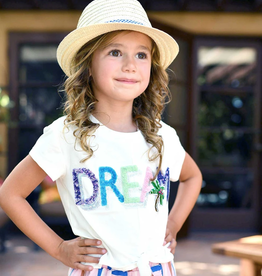 Hannah Banana/Baby Sara White Dream Tie-Front Tee Palm Tree Patch