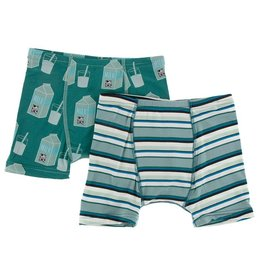 Kickee Pants Boxer Briefs Set (Ivy Milk/Agriculture Stripe)
