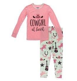 Kickee Pants LS Pajama Set Pistachio Cowboy