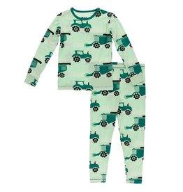 Kickee Pants LS Pajama Set Pistachio Tractor