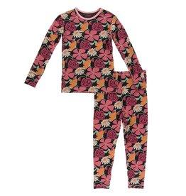 Kickee Pants LS Pajama Set Zebra Market Flowers
