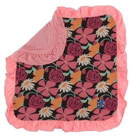 Kickee Pants Ruffle Lovey Zebra Market Flowers