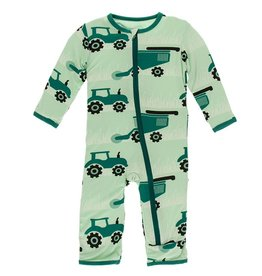 Kickee Pants Coverall w/ Zipper Pistachio Tractors & Wheat