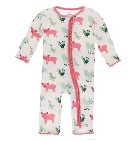Kickee Pants Muff. Ruff. Coverall Zipper Nat. Farm Animals
