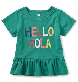 Tea Collection Hello Goodbye Peplum Top Emerald Sea
