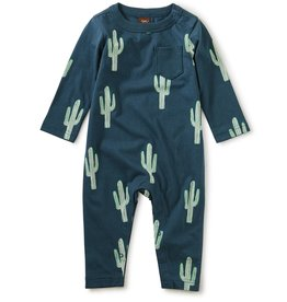 Tea Collection Printed Pocket Romper Cool Cacti