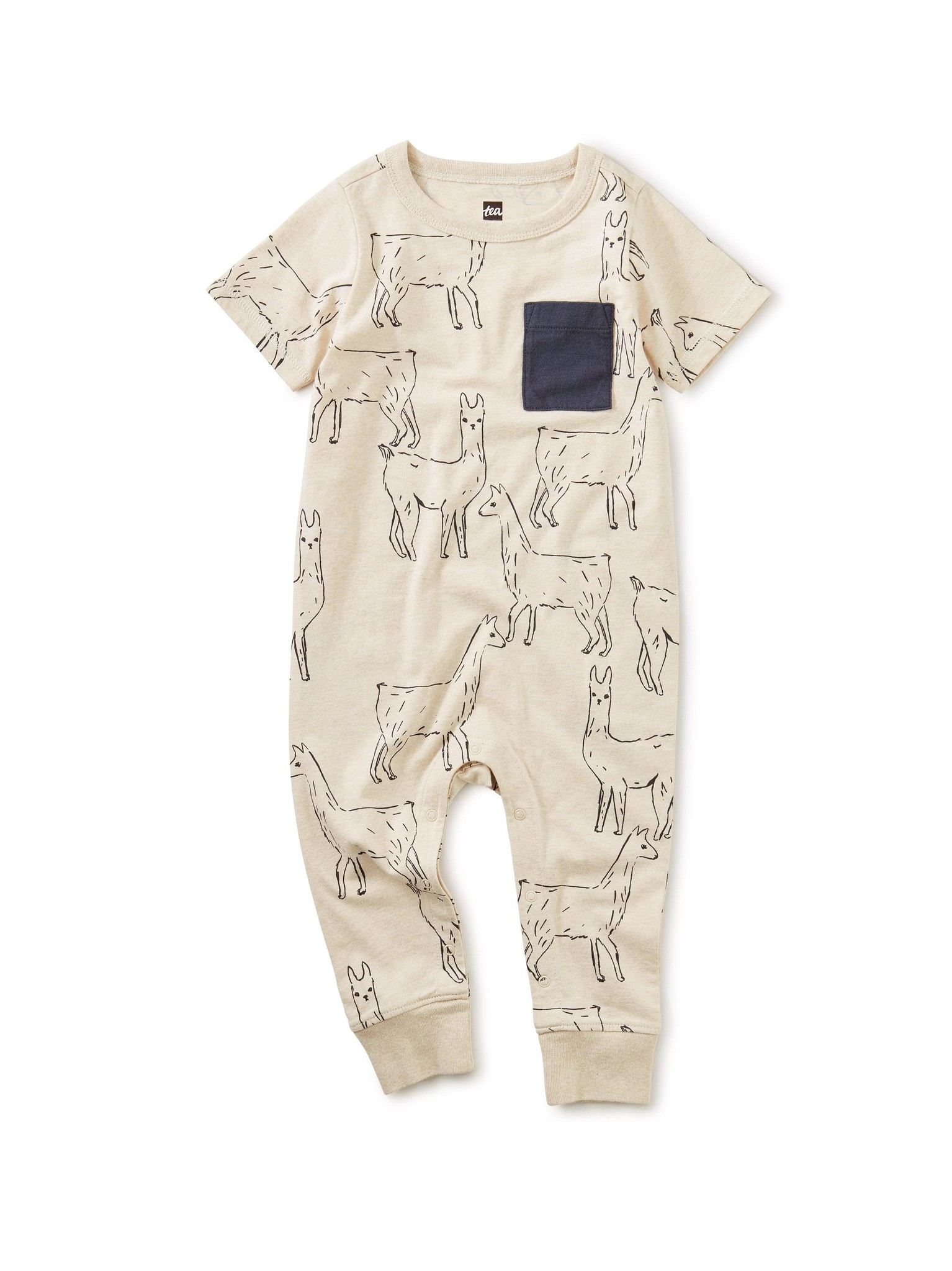 Tea Collection Printed Pocket Romper Llama Love
