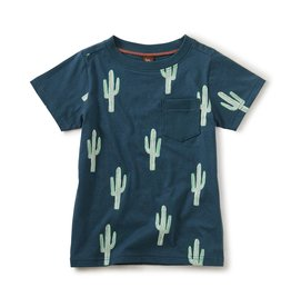 Tea Collection Printed Tee w/ Rib Pocket Cool Cacti
