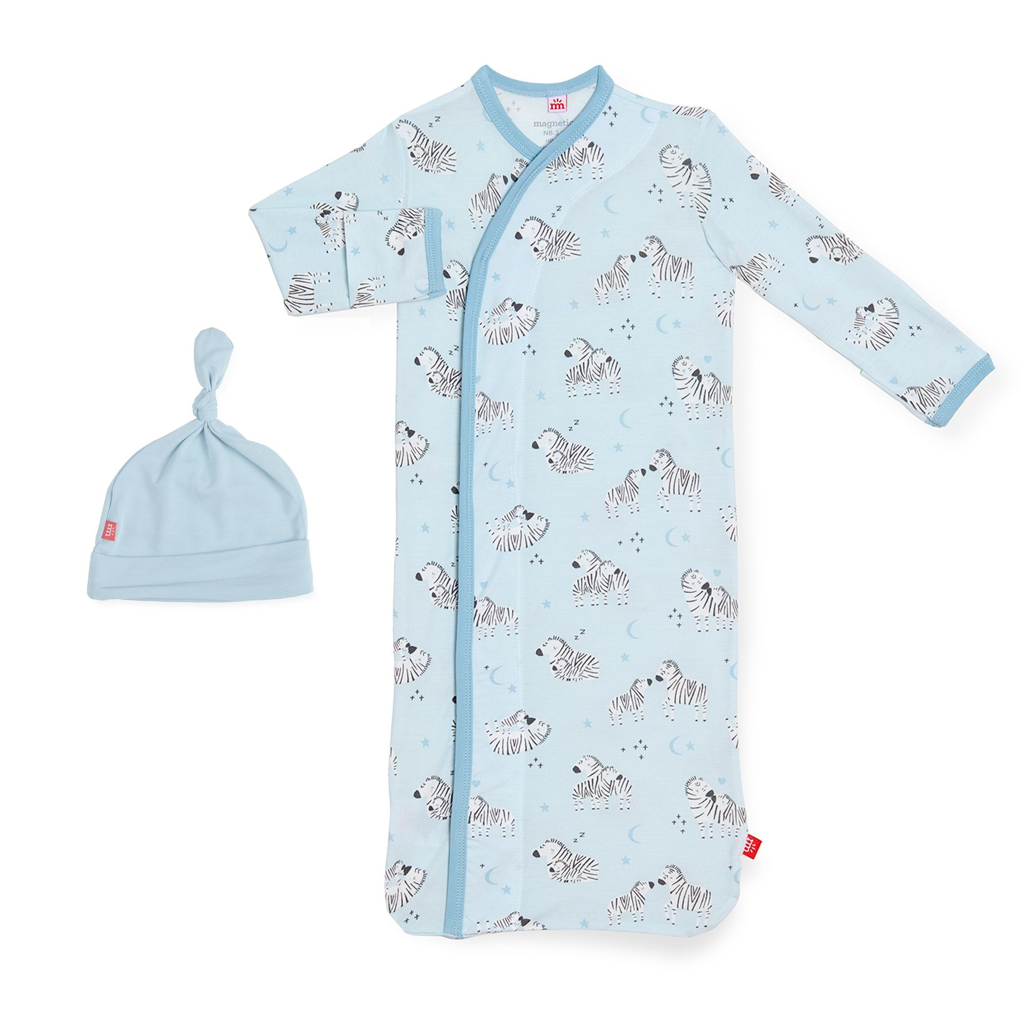 Magnificent Baby Blue Little One Modal Magnetic Gown & Hat Set NB/3M