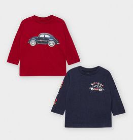 Mayoral T-Shirt LS Cars Set Bordeaux