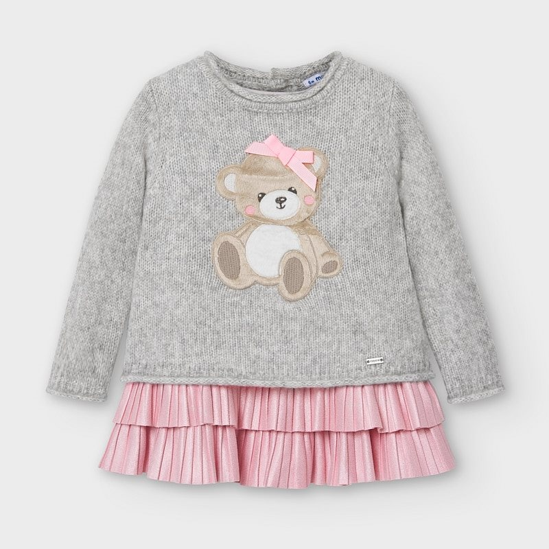 Mayoral Tricot Bear Dress Gray