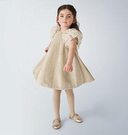 Mayoral Velvet Dress Beige