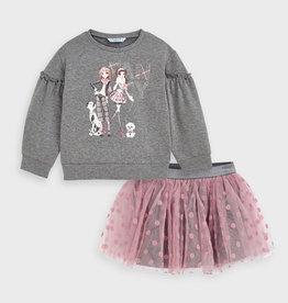 Mayoral Tulle Skirt Set Blush
