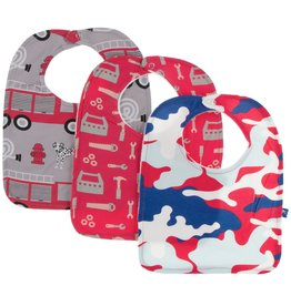 Kickee Pants Bib Set (Feather Firefighter/Flag Red Construction/Flag Red Military)