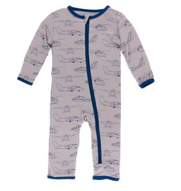 Kickee Pants Coverall w/ Zipper Feather Heroes in the Air