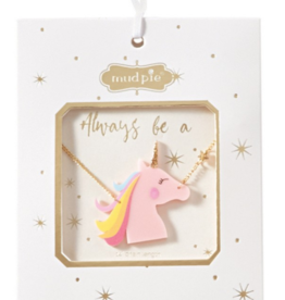 Mud Pie Acrylic Pink Unicorn Necklace