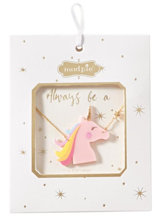 Mud Pie Acrylic Pink Unicorn Necklace