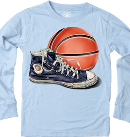 Wes And Willy Basketball & Shoe LS Tee NC Blue