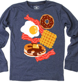 Wes And Willy Breakfast Time LS Tee Midnight Blend